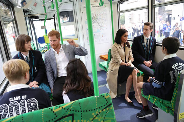 Meghan Markle and Prince Harry travelled on Melbournes iconic tram to the beach Image GETTY