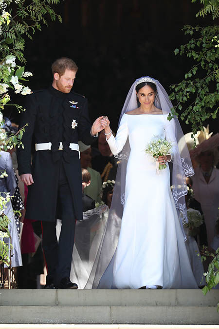 Meghan Markle opted for a Givenchy number during her wedding to Prince Harry Image GETTY
