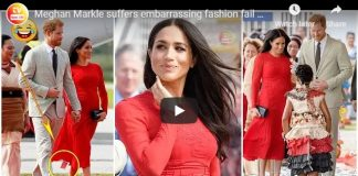 Meghan Markle suffers embarrassing fashion fail as she leaves tag on new £400 red dress in Tonga