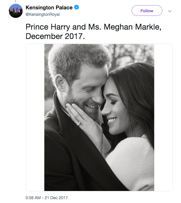Meghan actually wore a white cashmere sweater by VB in one of her engagement photos with Prince Harry Photo C TWITTER KENSINGTON ROYAL