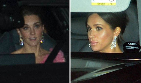 Meghan and Kate dazzled in impressive diamond earrings Image PA JONATHAN BUCKMASTER