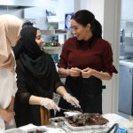 Meghan met members of the Hubb Community kitchen this afternoon Image GETTY