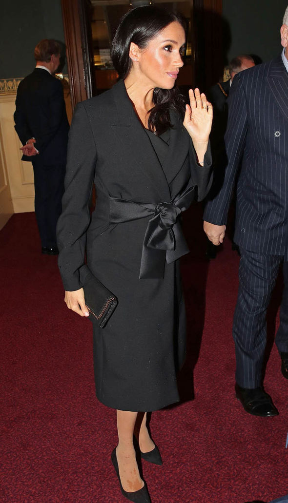 Meghan opted for a black Stella McCartney coat for an event at the Royal Albert Hall Image GETTY