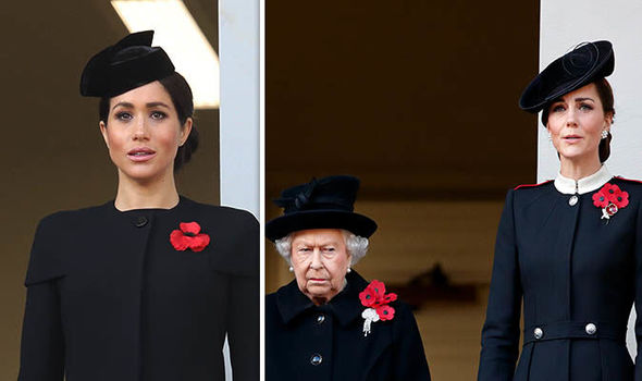 Meghan was positioned on a separate balcony from Kate and the Queen on Remembrance Day Image GETTY