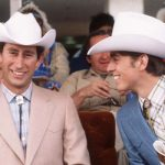 Prince Charles and Prince Andrew dress as cowboys on March 1 1977 at Calgary in Canada Image Getty