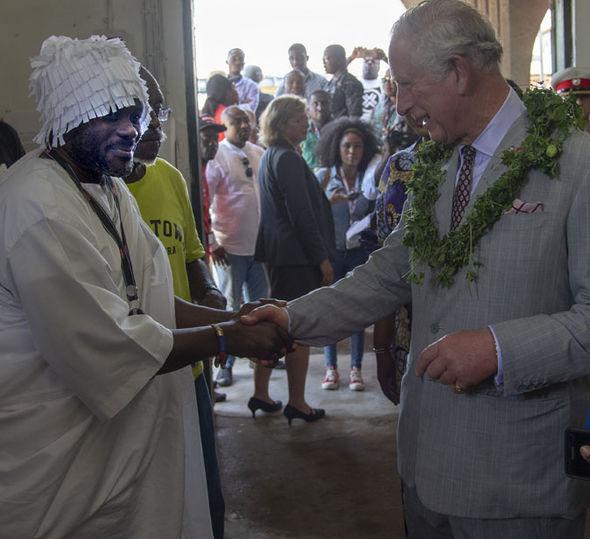 The Prince of Wales and Duchess of Cornwall are greeted on arrival at Jubilee House in Accra Ghana Image Joe Giddens PA Wire