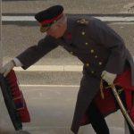 Prince Charles laying a wreath Image SKY NEWS