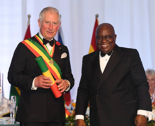 Prince Charles was made a Companion of the Order of the Star of Ghana by the Ghanaian President Image GETTY
