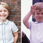 Prince George wore a similar outfit to Prince William for his official fifth birthday photo Image GETTY