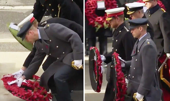 Prince Harry and Prince William lay their wreaths at the Cenotaph Image SKY