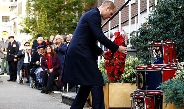 Prince William laid a remembrance wreath at the foot of the military drums on display Image GETTY
