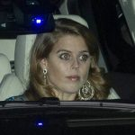 Princess Beatrice also donned a huge pair of sparkling earrings Image JONATHAN BUCKMASTER