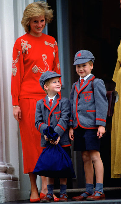 Princess Diana with Prince William and Prince Harry Image Getty