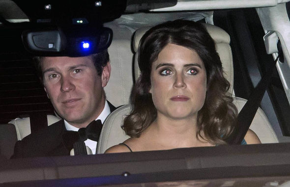 Princess Eugenie put on a more understated display as she did not appear to be wearing earrings Image JONATHAN BUCKMASTER