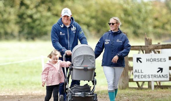 Queen Elizabeth great grandchildren Mia Tindall is walking Lena Elizabeth with her parents Image GETTY