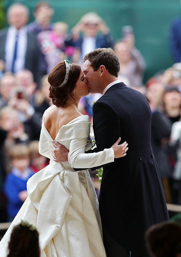 Royal Wedding The couples first kiss as newlyweds Image Getty