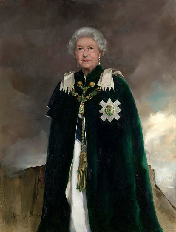 The oil painting by artist Nicky Philipps shows Her Majesty 92 Image PA