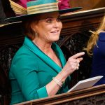 Sarah at St Georges Chapel for Princess Eugenies wedding day Photo C GETTY IMAGES