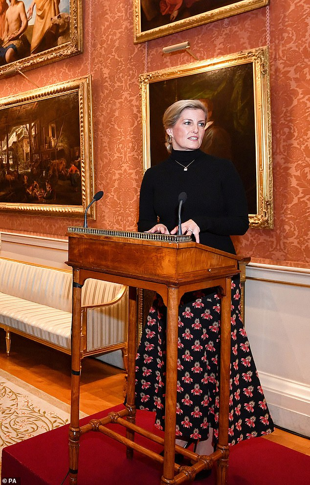 Sophie the Countess of Wessex welcomed fashions elite to Buckingham Palace on Wednesday night to celebrate 10 years of the London College of Fashion