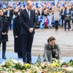 The Duchess laid flowers on behalf of the royal couple in tribute to Leicester City owner Vichai Image GETTY