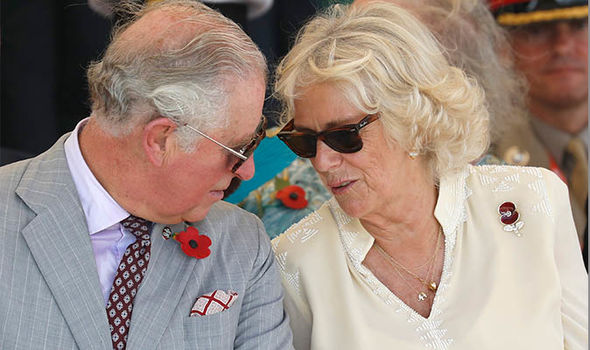The Prince of Wales and Duchess of COrnwall enjoy a moment together earlier this month Image Getty