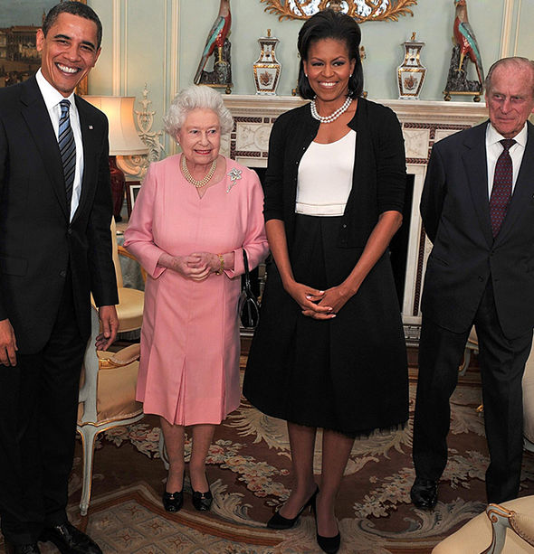 The Queen and Prince Philip with the Obamas when they came to stay in April 2009 Image GETTY