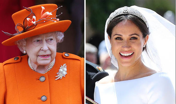The Queen was shocked by Meghans wedding dress choice according to royal sources Image GETTY