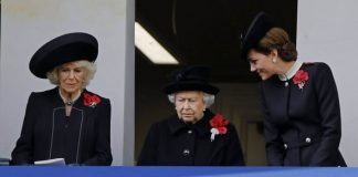 The Queen watched the moving service from a balcony with Camilla and Kate Image GETTY