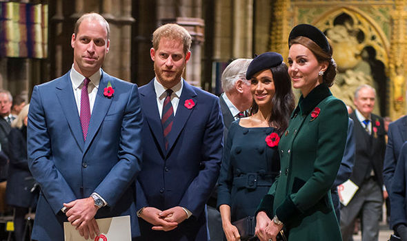 The Royal couples at a Remembrance Sunday service Image GETTY