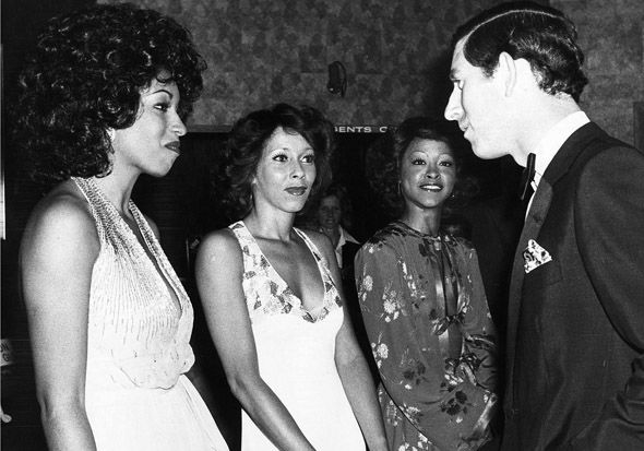 The Three Degrees meet Prince Charles after charity show at a Country Club in Eastbourne 1978 Image Daily Mirror Mirrorpix