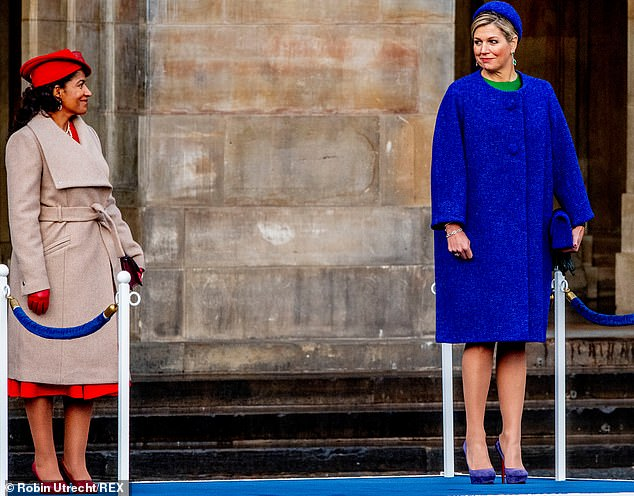 Argentian born Maxima and the First Lady of Cape Verde gave each other a smile from afar Following this a reception was held at Amsterdam Royal Palace