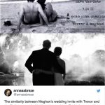 Both images are in black and white showing Meghan with her arm around her husband Image TWITTER