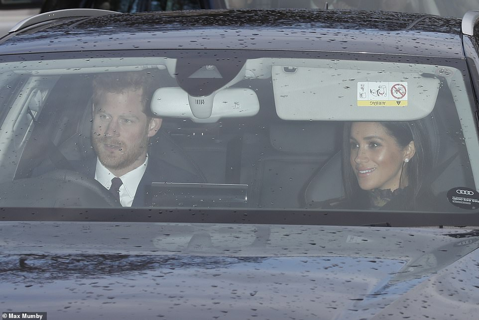 Bringing the glamour The Duke and Duchess of Sussex drove their own car into the palace for the family meal