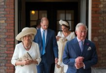 Camilla wore the same dress at Prince Louiss christening Photo C GETTY