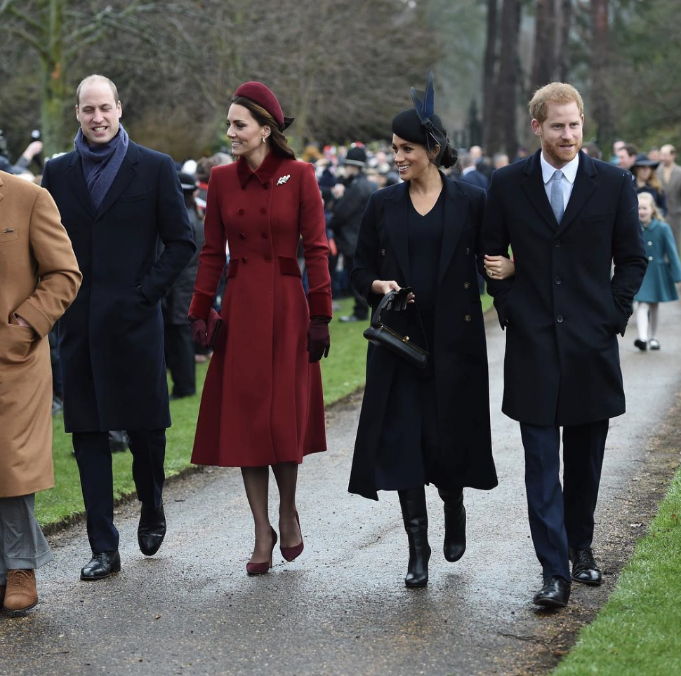 FESTIVE Meghan Markle Kate Middleton Harry and Wills pictured on Christmas Day Pic PA