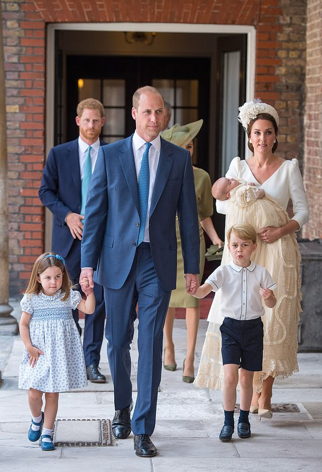 Father of three Prince William pictured with George five and Charlotte three at Prince Louis christening in July 2018