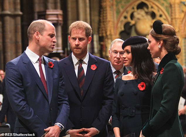 It comes amid rumours of a rift between the Cambridges and the Sussexes above at Westminster Abbey last month