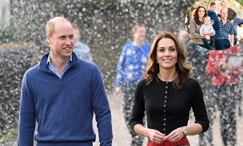 Kate Middleton Prince William and children surprise in jeans for adorable 2018 Christmas card Photo C GETTY IMAGES