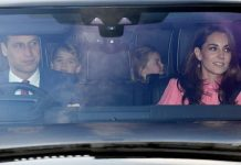 Kate William Charlotte and George were seen attending the Queens festive lunch Image PA