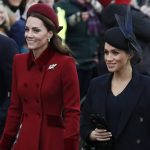Kate and Meghan both appeared happy and relaxed as they walked to the church this morning Kate wore a bright red coat alongside Meghan who chose a black outfit