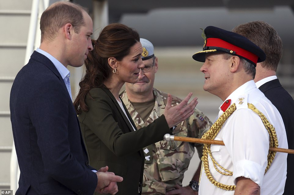 Kate and William speak with Army officials today at the Akrotiri Royal Air Force base near the south coastal city of Limassol