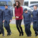 Kate let her hair fly as she played jumping games with young cadets during her visit to an RAF base in Cambridgeshire in February 2017 Photo C GETTY