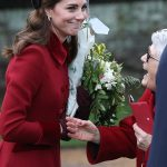 Kate shares a joke with a royal fan as she left the church service