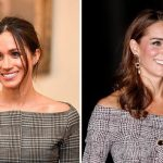 Kate took inspiration from Meghan by wearing an off the shoulder outfit Image Getty