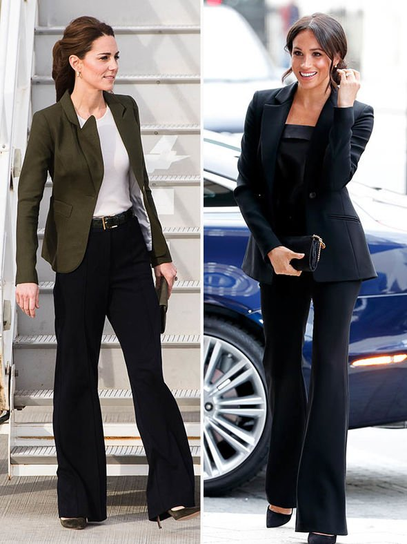 Kate took style inspiration from Meghan when wearing a pair of wide leg trousers Image Getty