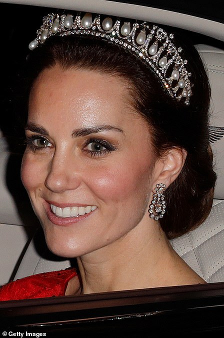 Kate wore the tiara for the annual Diplomatic Reception at Buckingham Palace in December 2016