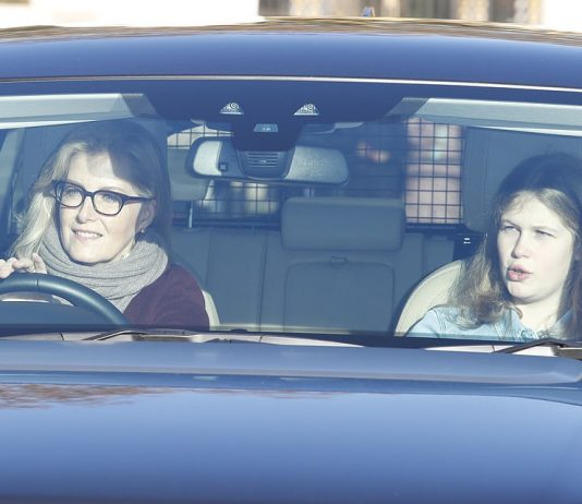 Lady Louise Windsor 15 rode in the front seat of the car with Sophie Wessex as the family arrived