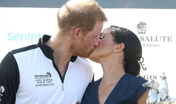 Meghan Markle and Prince Harry at a polo match Image GETTY