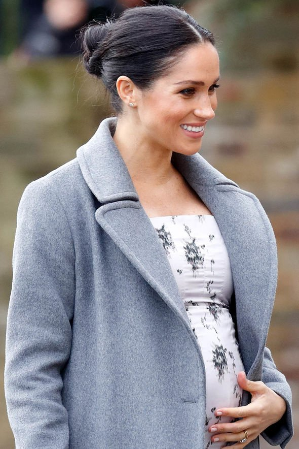 Meghan Markle fans are speculating the Duchess may be further along her pregnancy than we thought Image GETTY