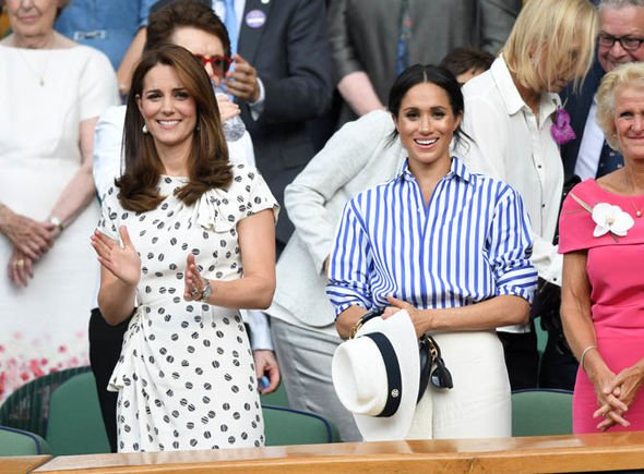 Meghan and Kate pictured at Wimbledon in July Image GETTY